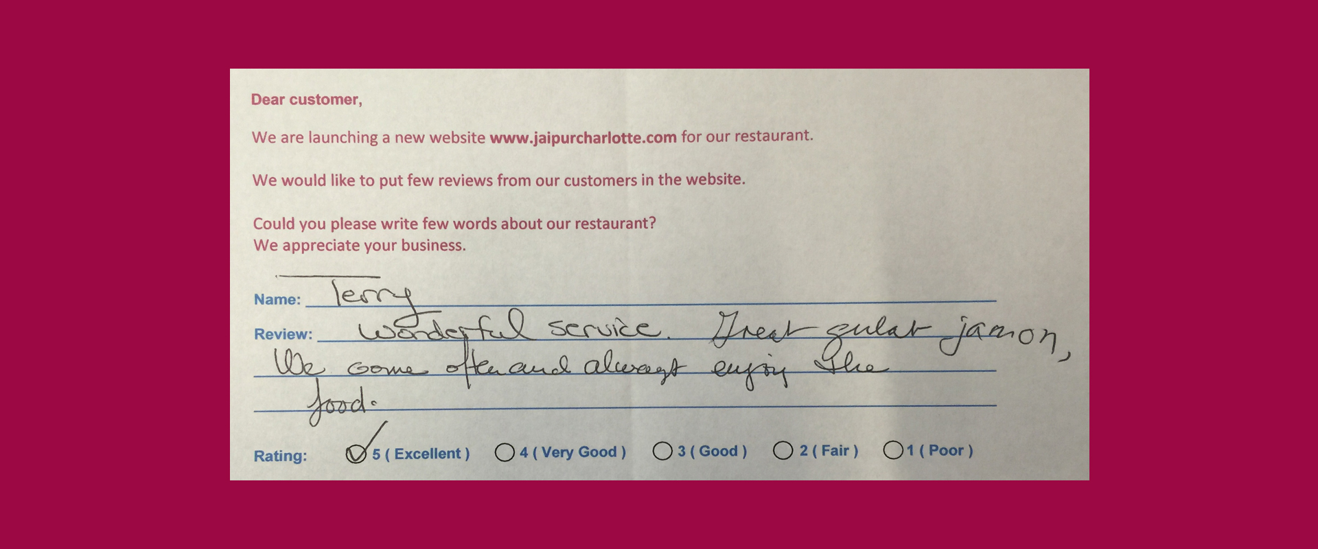 Jaipur Indian Restaurant Customer Review by Terry - Rating 5 out of 5