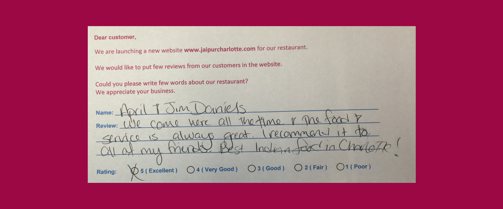 Jaipur Indian Restaurant Customer Review by April and Jim Daniels - Rating 5 out of 5